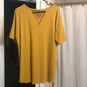 Crazy Train Mustard Keyhole Top